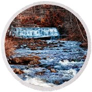 Waterfall Along A Mountain Stream Round Beach Towel