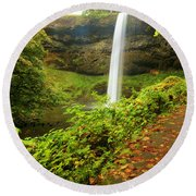 Waterfall Along The Trail Round Beach Towel