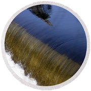 Waterfall And Reflections Round Beach Towel