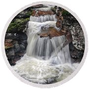 Waterfall At Ricketts Glen Round Beach Towel