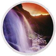 Waterfall At Sunset, Bugaboo Glacier Round Beach Towel
