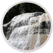Waterfall At Treman State Park Ny Round Beach Towel