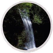 Waterfall In A Forest, Glencar Round Beach Towel