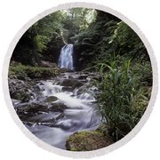 Waterfall In A Forest, Glenoe Round Beach Towel