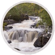 Waterfall In The Highlands Round Beach Towel