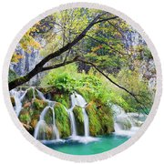 Waterfall In The Plitvice Lakes National Park Round Beach Towel