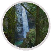 Waterfall In The Woods Round Beach Towel