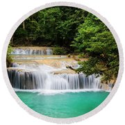 Waterfall In Tropical Forest Round Beach Towel