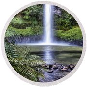 Waterfall Round Beach Towel by Les Cunliffe