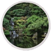 Waterfall - Portland Japanese Garden - Oregon Round Beach Towel