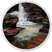 Waterfall Ricketts Glen Round Beach Towel