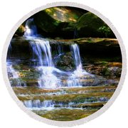 Waterfall Trio At Mcconnells Mill State Park Round Beach Towel