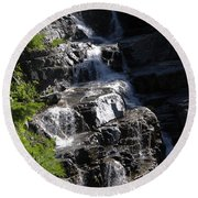 Waterfalls Along Going-to-the-sun Road Round Beach Towel