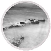 Waterfalls On The Rocks M Round Beach Towel