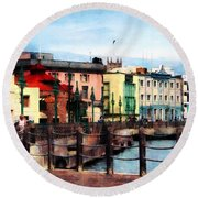 Waterfront Bridgetown Barbados Round Beach Towel