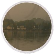 Waterfront Houses Round Beach Towel