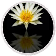 Waterlily And Reflection Round Beach Towel