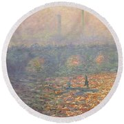 Waterloo Bridge Round Beach Towel by Claude Monet