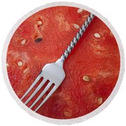 Watermelon And Fork Round Beach Towel