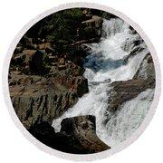 Waters Flow Glen Alpine Falls Round Beach Towel