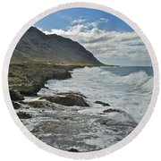 Waves At Kaena State Park 7847 Round Beach Towel