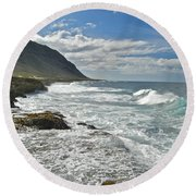 Waves Breaking On Shore 7876 Round Beach Towel