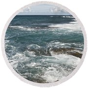 Waves Breaking On Shore  7918 Round Beach Towel