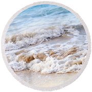 Waves Breaking On Tropical Shore Round Beach Towel