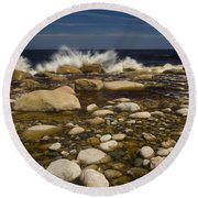 Waves Hitting Rocks, Anchor Brook Round Beach Towel