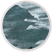 Waves In The Sky Round Beach Towel