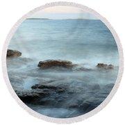 Waves On The Coast Round Beach Towel