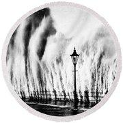 Waves Smashing Seawall, 1938 Round Beach Towel