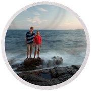 Waves Splash Children Round Beach Towel