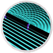 Waves Two Slit 4 Round Beach Towel