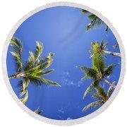 Waving Palm Trees Round Beach Towel