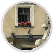 Wawel Flower Box And Achitecture Round Beach Towel