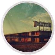We Met At The Old Motel Round Beach Towel by Laurie Search
