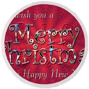 We Wish You A Merry Christmas Round Beach Towel