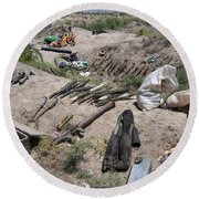Weapons Caches Round Beach Towel