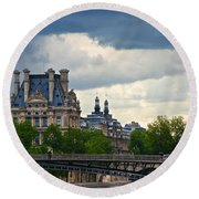 Weather In Paris Round Beach Towel