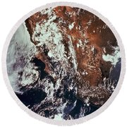 Weather Patterns Over Earth Round Beach Towel