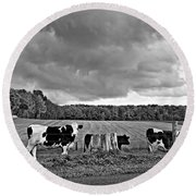 Weather Talk Monochrome Round Beach Towel