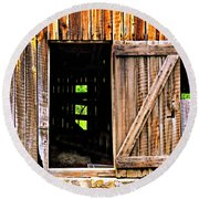 Weathered Barn Door Round Beach Towel