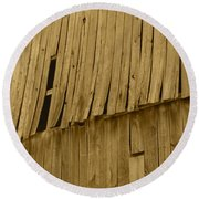 Weathered Barn I In Sepia Round Beach Towel
