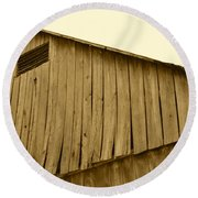 Weathered Barn II In Sepia Round Beach Towel