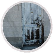 Weathered Door Virginia City Nevada Round Beach Towel