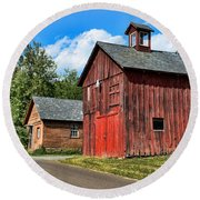Weathered Red Barn Round Beach Towel