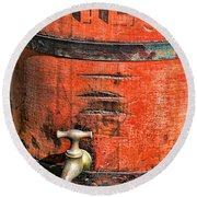 Weathered Red Oil Bucket Round Beach Towel