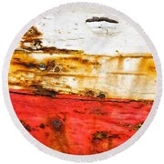 Weathered With Red Stripe Round Beach Towel by Silvia Ganora
