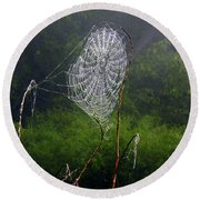 Web Over Foggy Lake Round Beach Towel